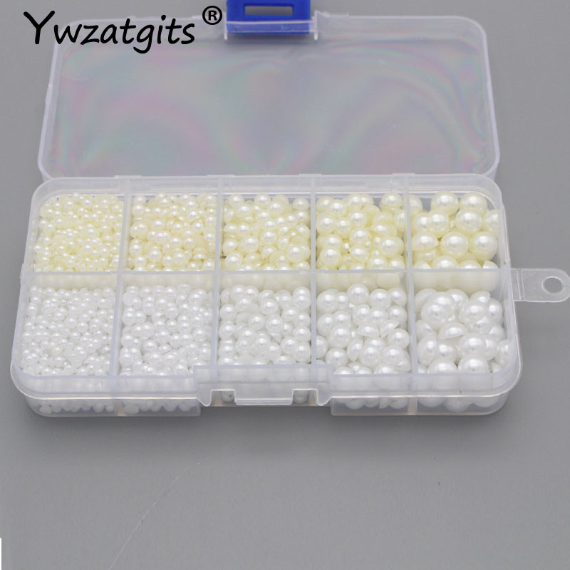 3/4/5/6/8mm 2200pcs White Ivory ABS Half Round Imitation Pearl Beads Flatback Craft Decor DIY Nail Art Jewelry Accessory YF1007