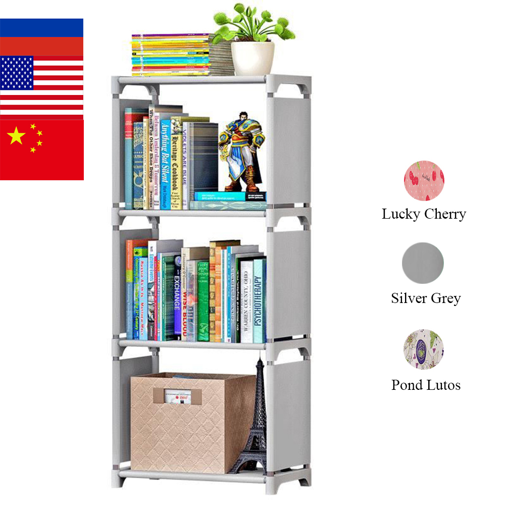 4 Tiers Portable Simple Book Shelf Nonwoven Easy Install Shelves Bookcase Kids Bookshelf Minimalist Modern DIY Home Decoration