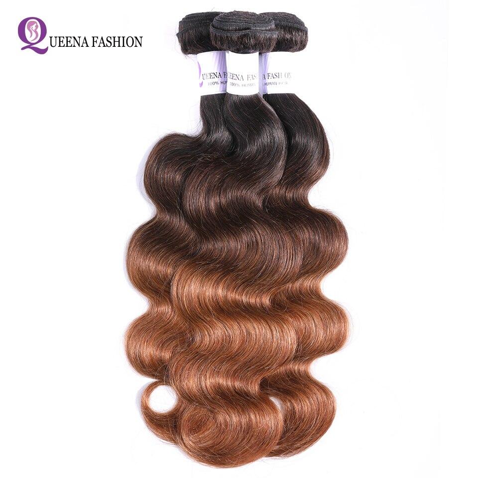 Queena Indian Hair 3 Bundles 1B/4/30 27 ThreeTone Color Body Wave Hair Weave Ombre Human Hair Bundles Non Remy Hair Extensions