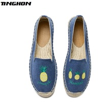 TINGHON Fashion Women Ladies Espadrille Shoes Canvas Embroidery Yellow pineapple Rome Ankle Strap Hemps Flats