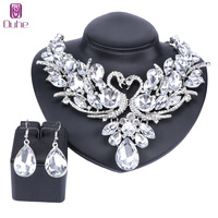 OUHE Trendy Silver Color Crystal Swan Bridal Jewelry Sets Italian For Women Girls Wedding Jewelry Sets