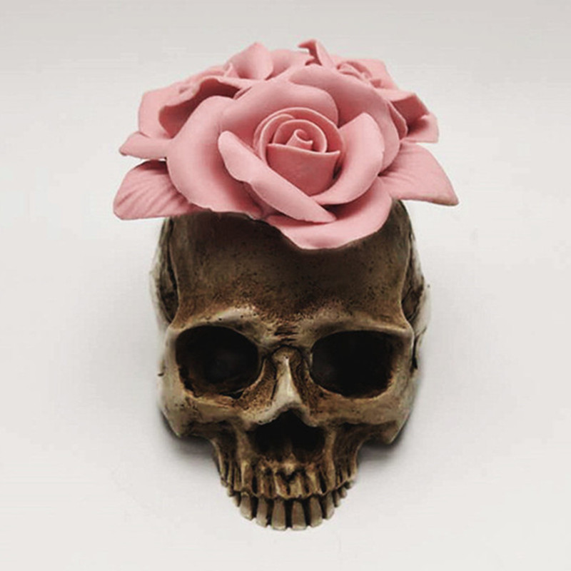 Image 2 - 3D Rose skull silicone mold diy candle plaster silicone mold Halloween decoration tools-in Cake Molds from Home & Garden