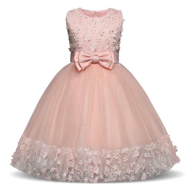 Kids Clothes Flower Girls Dress Summer 2018 Teen Girl Clothing Princess  Dresses Kids Girl Pink Party b5662884da10