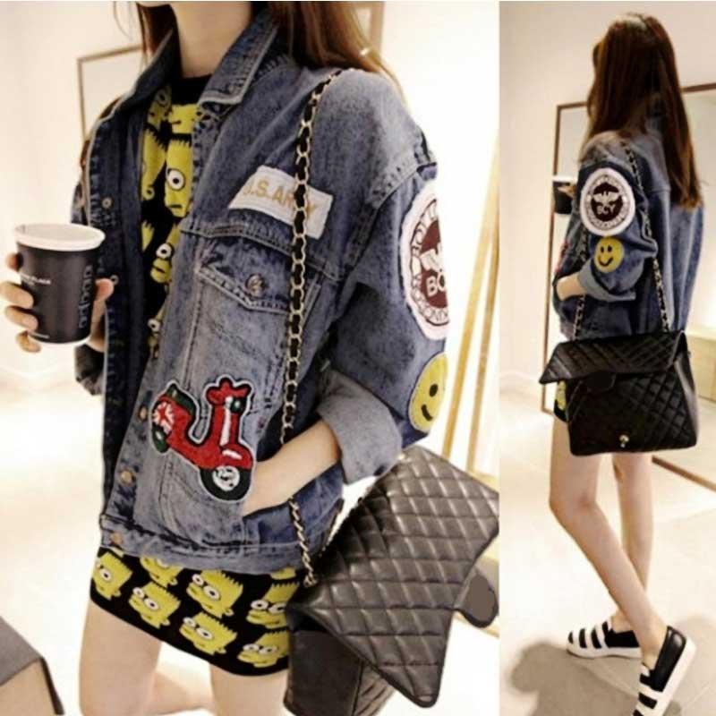 Oversized Denim Jacket Spring Jaqueta font b Jeans b font casacos Femininos font b Women b