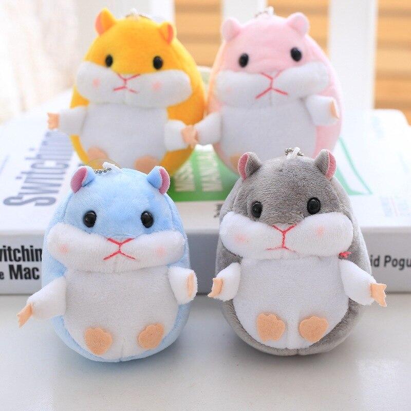2017 trinket Mini Hamster Pom KeyChains Women fluffy Bunny Toy Doll Bag Car Key Ring Monster Keychain Jewelry Gift