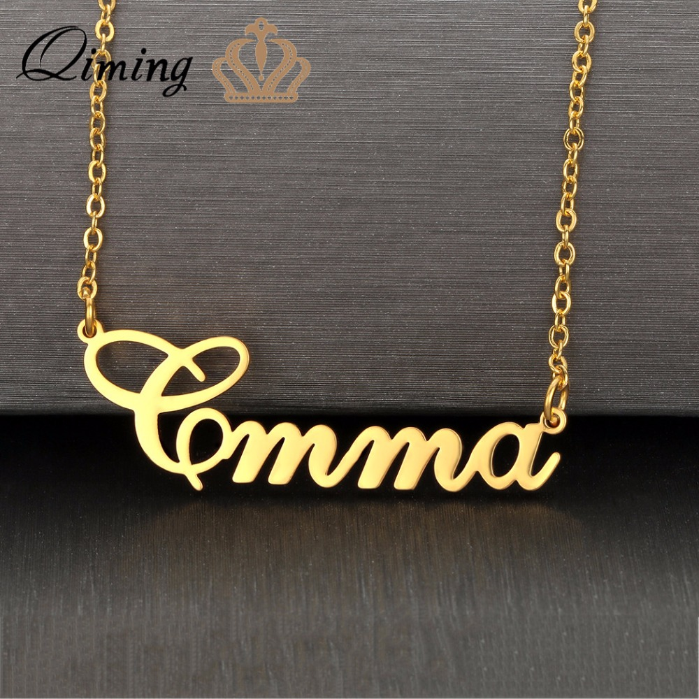 Qiming Silver Name Necklace Letter Nameplate Custom Jewelry Women Men Birthday Bridesmaid Gift Girls Necklace Best Friends