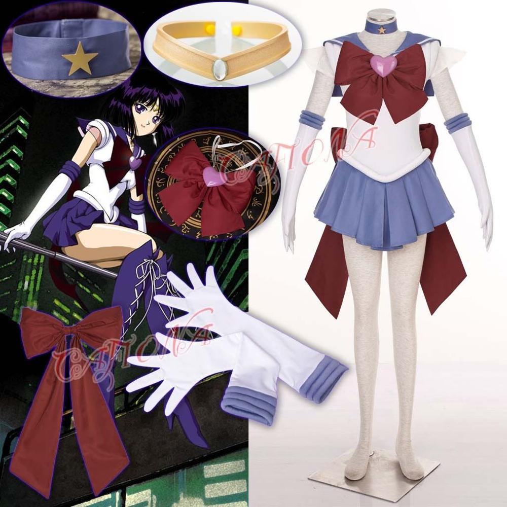 Sailor Saturn Purple Cosplay Costume Uniform Dress Sailor Moon Customized Size