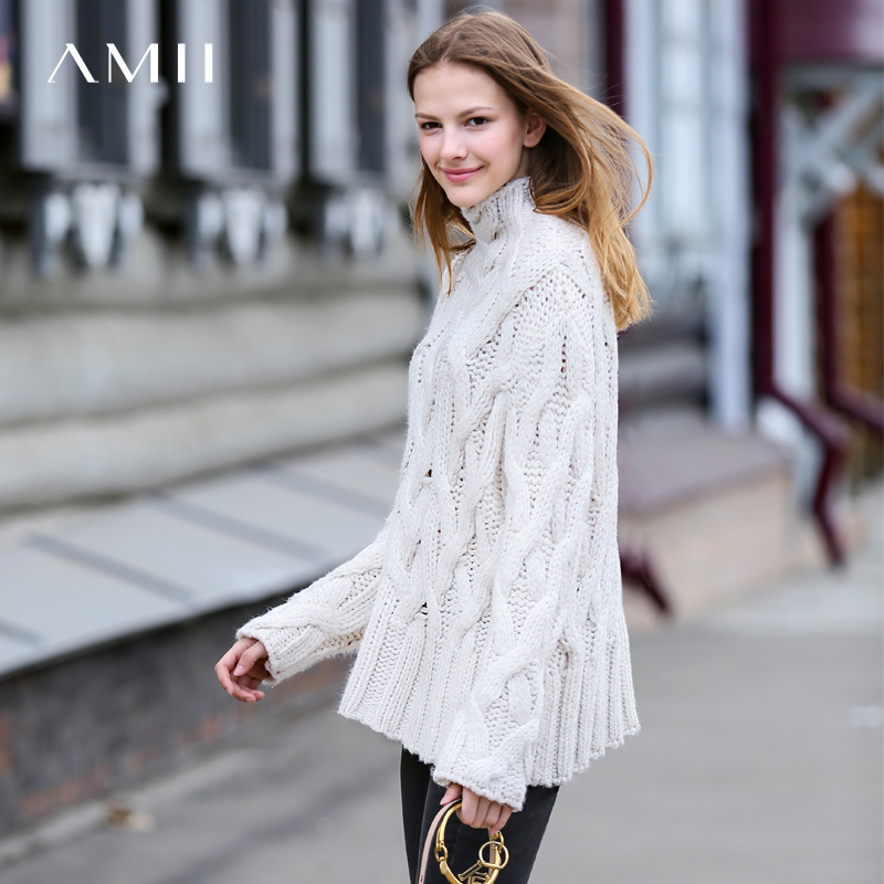 Amii Minimalist Women Turtleneck Sweater Winter 2019 Causal Solid Hollow Out Pullovers Knitted Sweater