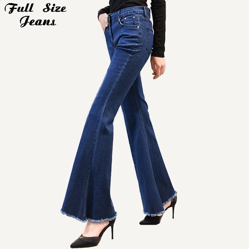 Plus Size Dark Blue Big Bell Bottom Long Jeans For Women 3Xl 7Xl Spring Wide Leg Tassel Fringe Stretch Skinny Flare Jeans