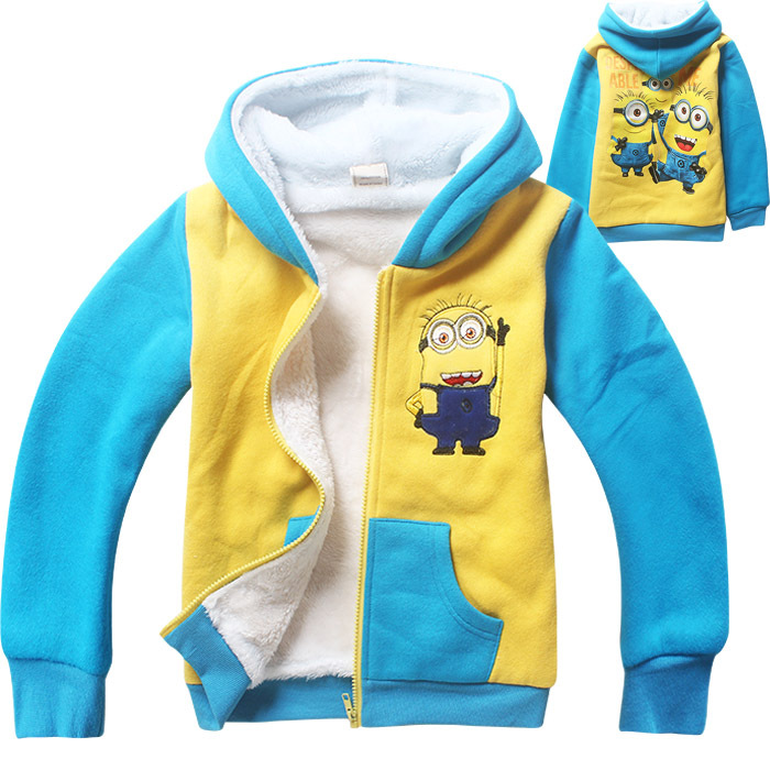 Thickened 2015 New Hot Children Hoodies Thin Sweatshirt Boys Girls Hooded Jacket Minions Clothes Kids Hoody With Zipper 080103