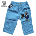 XIAOYOUYU Size 100-140 Cartoon Printed Boy Casual Loose Pant 2016 Spring Yellow Duck Pattern Children Trousers Solid Color Khaki