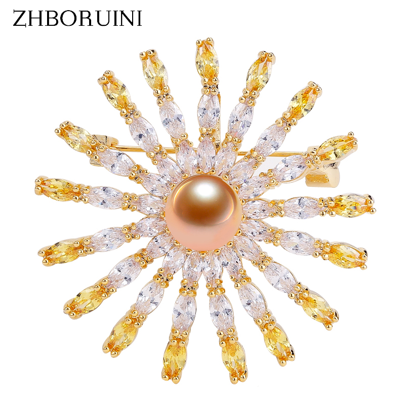 ZHBORUINI Pearl Brooch Jewelry Gold Freshwater Natural Round Crystal Women for Accessories