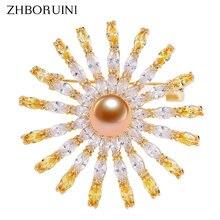 Zhboruini Женская Брошь с натуральным пресноводным жемчугом