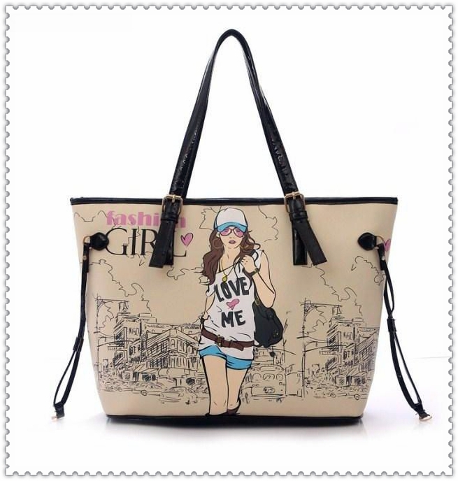 deffcc75cbd7 3 sets women handbags with cartoon print lady one shoulder bag messenger  bags famous brands clutch leather oil printing girl bag-in Shoulder Bags  from ...