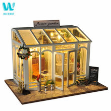 WINCO Wooden Diy Doll house Toy Miniature Box Puzzle Dollhouse Diy Kit Furniture Flower Cake Shop Model Gift Toy For Children hoomeda 13828 the star dreaming house diy dollhouse with light music miniature model gift decor toy gift for friend children