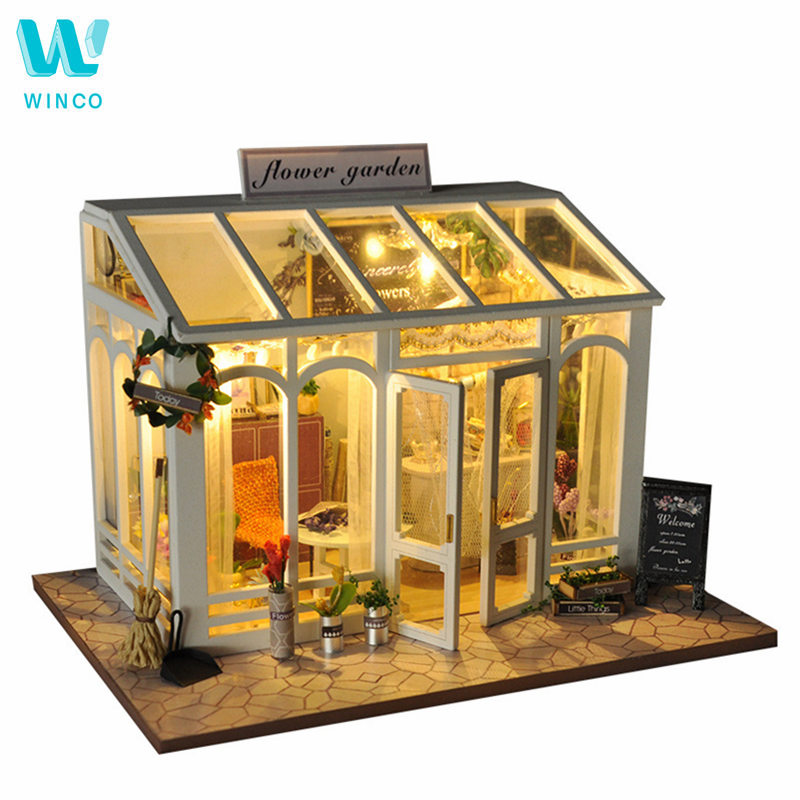 WINCO Wooden Diy Doll house Toy Miniature Box Puzzle Dollhouse Diy Kit Furniture Flower Cake Shop Model Gift Toy For Children