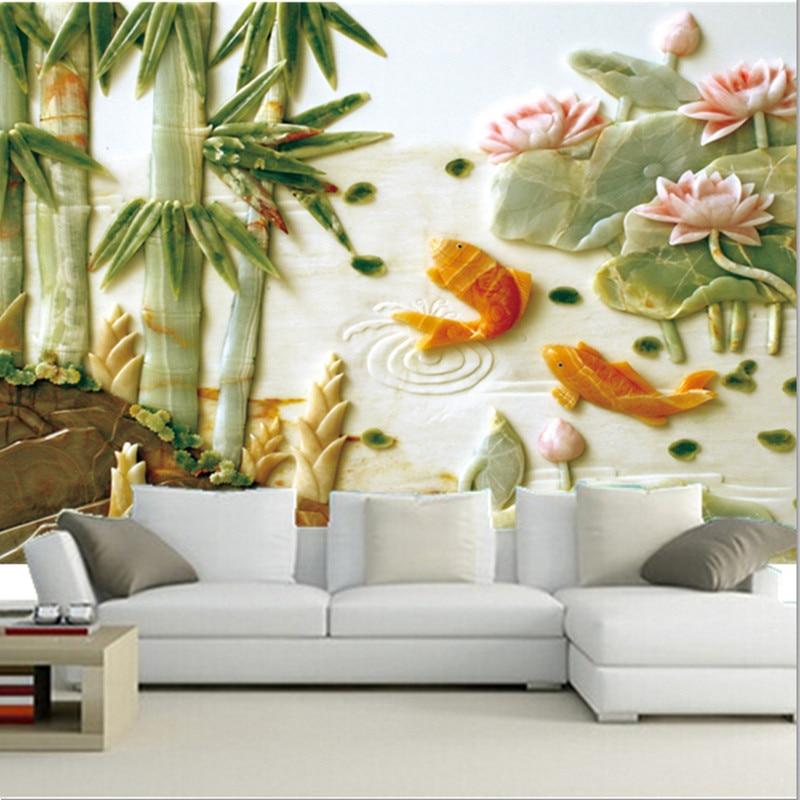 Custom 3D stereo jade murals, Chinese style goldfish lotus pattern papel de parede,living room sofa TV wall bedroom wallpaper