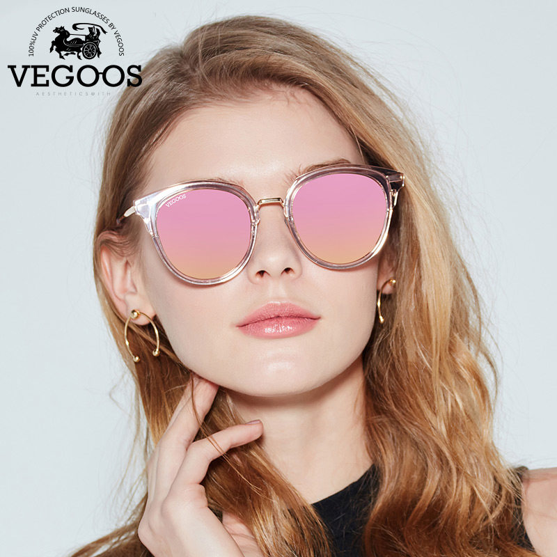 VEGOOS Polarized Round Cat Eye Sunglasses Women TAC Lens Brand Designer Tourism Driving Party Fashion Retro Sun Glasses #6121