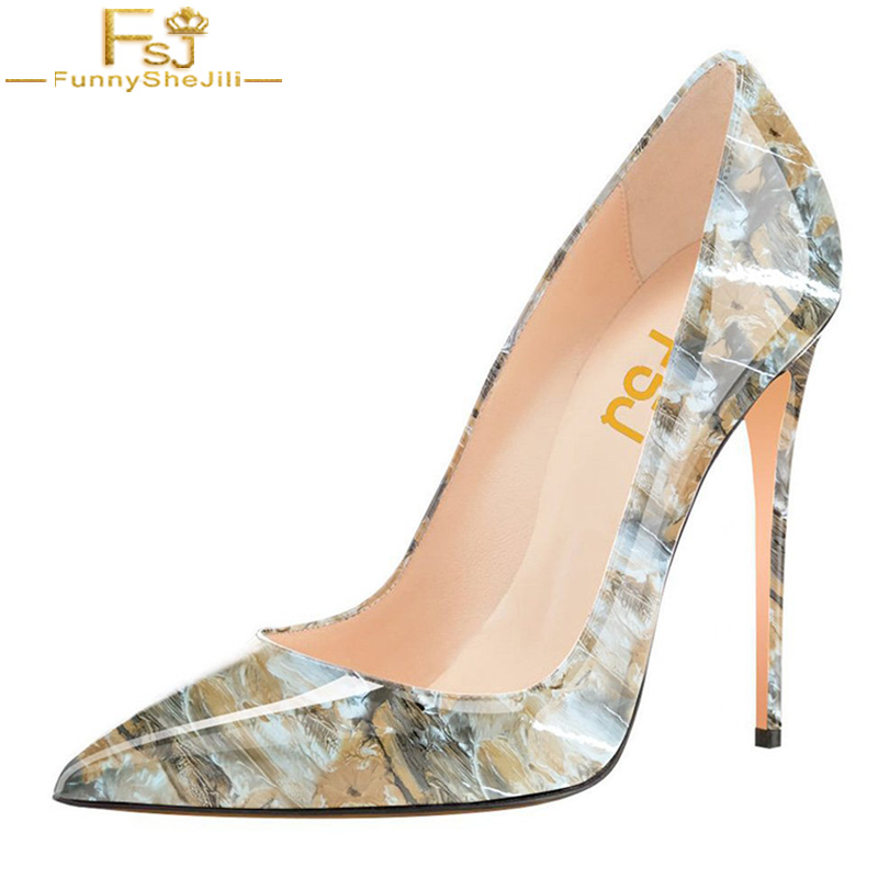 FSJ Oil Paint Fashion Women Fashion High Heel Stilettos Pointed Toe Pumps Evening Dress Party Evening Printed Shoes Size 4-15 US