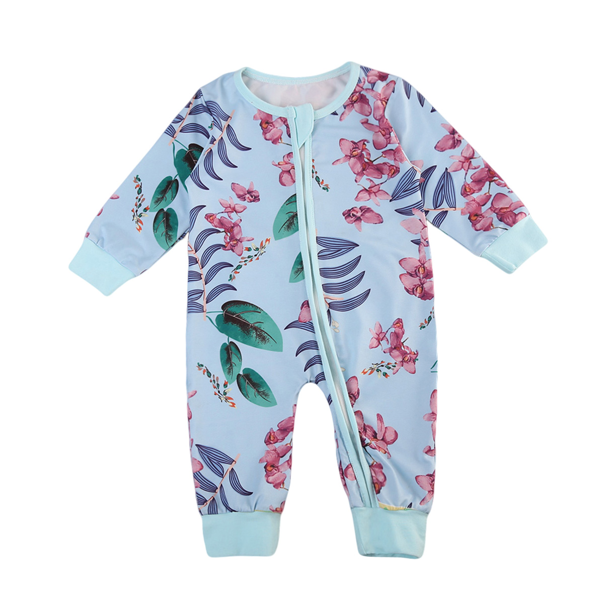 Pudcoco 0-24M Newborn Toddler Baby Boy Girl Cute Romper Floral Jumpsuit Blue Zipper Outfit Baby Clothes Autumn Cotton 0-24M