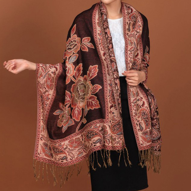 Black Hot Sale Fashion Double Faces Fancy Paisley Women Pashmina Shawl/  scarf     Wrap   Peony Free Shipping Rh-1