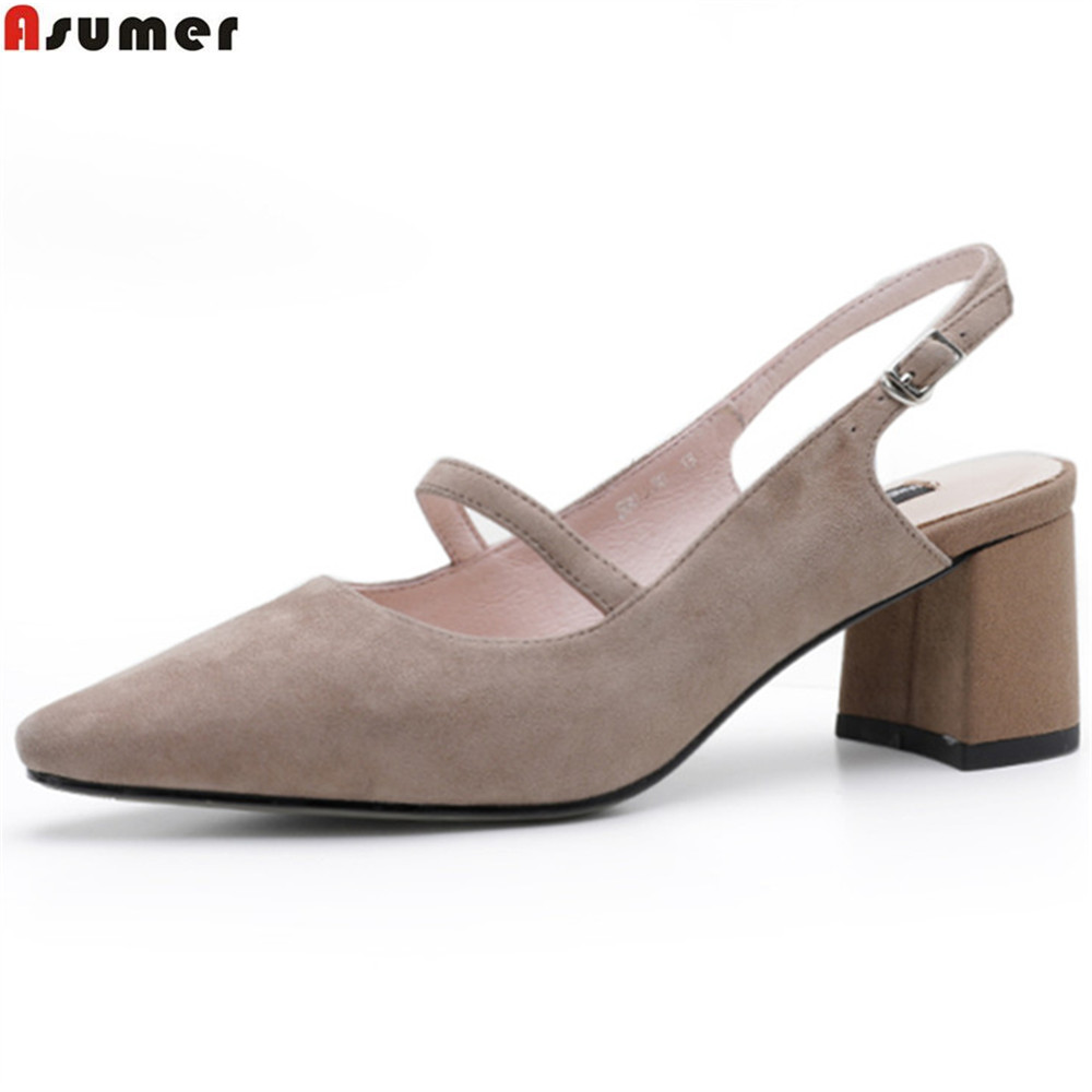 ASUMER black pink fashion spring autumn shoes woman square heel buckle elegant women suede leather high heels shoes перкуссия и пэд alesis samplepad percussion multi pad
