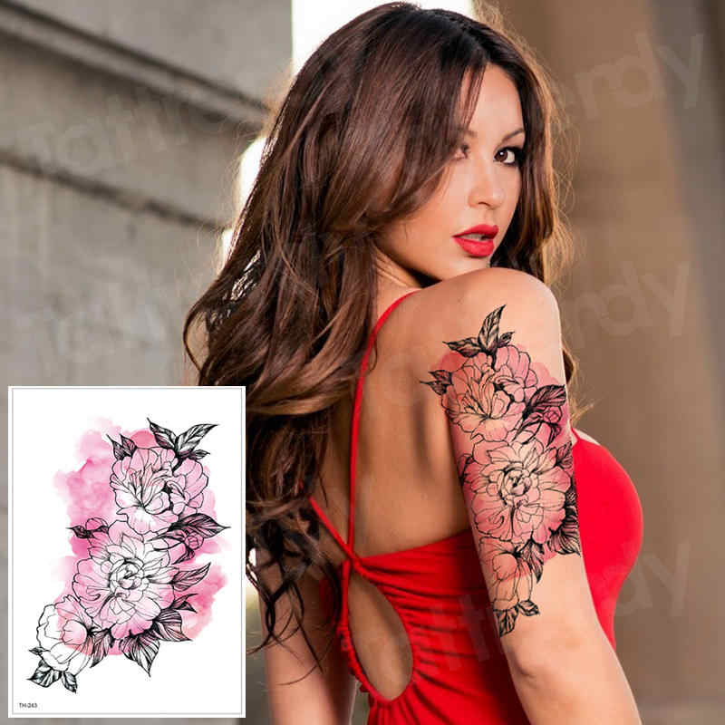 temporary tattoo waterproof temporary tattoos sticker transfer sleeve tattoo rose flower fake tatto for women body painting girl