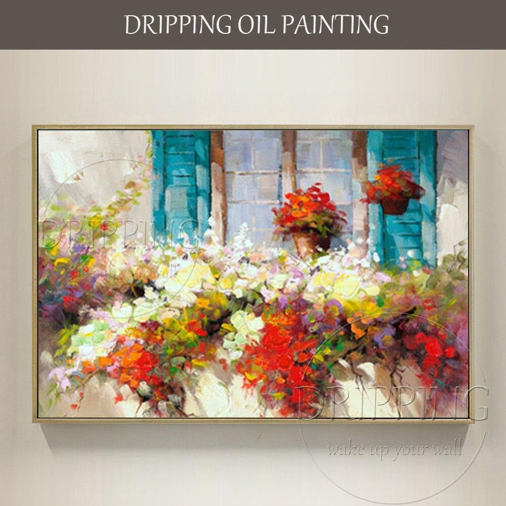 Excellent Artiste peint à la Main de Haute Qualité Moderne Mur Art Windows Floral Peinture À L'huile sur Toile Fleur Peinture À L'huile pour cuisine