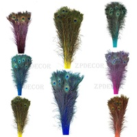 100 pieces Inch32~36 80 90CM Directly Dyed Color Peacock Feathers