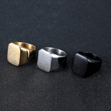 Aibeiou Smooth Mens Black Rock Punk Rings Cool Fashion Individuality Ring for Men Party Jewelry.