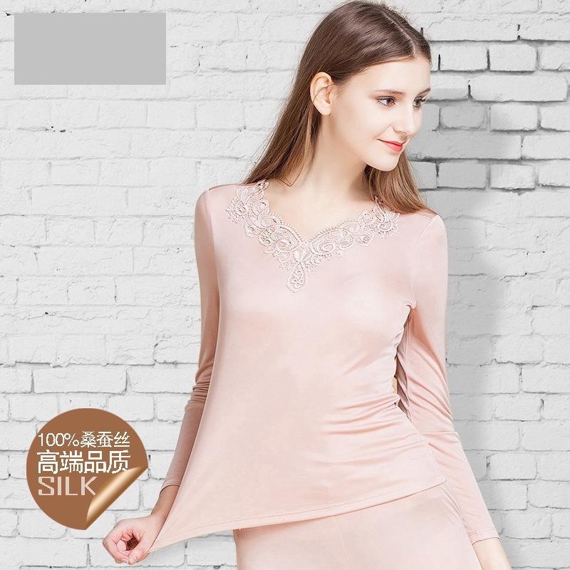 New 100% pure Silk Underwear Set, Ladies High-end Embroidery, V Collar Thermal Underwear
