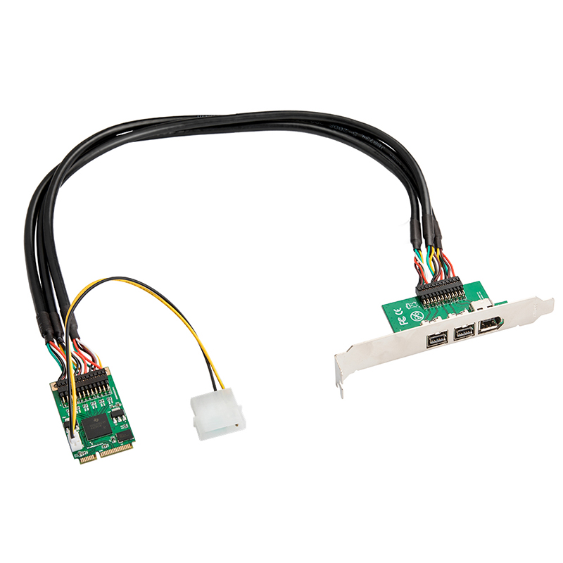 Mini PCI-E to <font><b>IEEE</b></font> 1394 Controller Card 1 Port Firewire 1394A and 2 Ports <font><b>1394B</b></font> for Digital Camera DV Hard Disk Removable Drives image