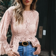 ФОТО nlw pink elegant long sleeve women blouse high street casual blouse solid hollow out lace blouse