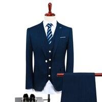 JACKET + VEST + PANT Suit Uomini 2017 Autumn Fashion Slim Fit Solido Sposo Matrimonio Si Adatta Abito Blu Navy Marrige giacca sportiva Degli Uomini Smoking 4XL-S