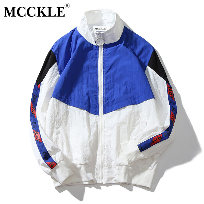MCCKLE 2018 Spring Mens Jacket Stand Collar Hip Hop Outwear Bomber Jacket Patchwork Casual Men Coat Bomb Baseball Jackets ...