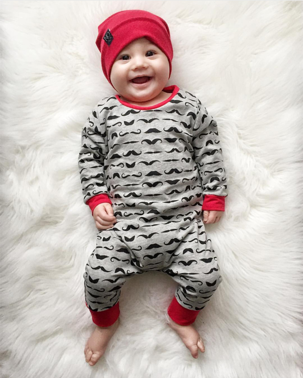 Baby Rompers Children Autumn Clothing Newborn Baby Clothes Cotton Long Sleeve Mustache Printed