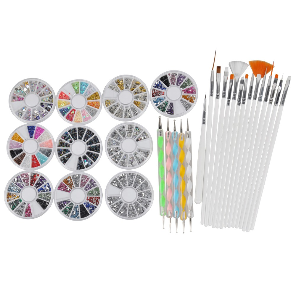 3D Nail Art Manicure Wheel Nail Rhinestones Decoration with Metal Studs, 15Pcs Nail Art Brushes, 5Pcs Double Side Dotting Tools 10pcs gold 3d rudder metal flower pearl music note mixed rhinestones cross nail art decoration jewelry nails supplies y180 187