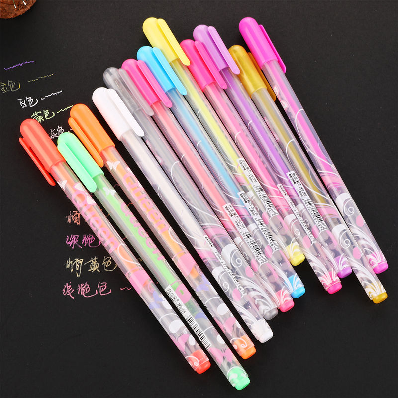 12 pcs//lot Colorful Gel pen Set Refills Metallic Pastel Drawing Color art Marker