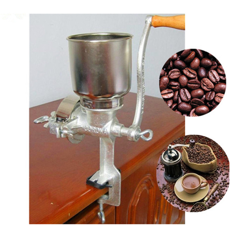 Mini manual chili soybean grain rice grinder machine wheat corn hand crank oats flour mill grinding miller pulverizer multifunction corn flour mill machine home use manual maize rice soybean peanut coffee cocoa beans grain grinder