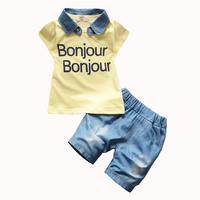 2017 для маленьких мальчиков лето съемный джинсовым воротником комплект одежды детская футболка с надписью Джинсовые шорты Детский комплект...