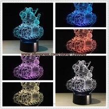 2017 Cartoon Battle Machine Tank 3D USB LED Lamp Novelty Lighting 7 colors changing Atmosphere Cool Boy Kids Toys Bedroom Decor