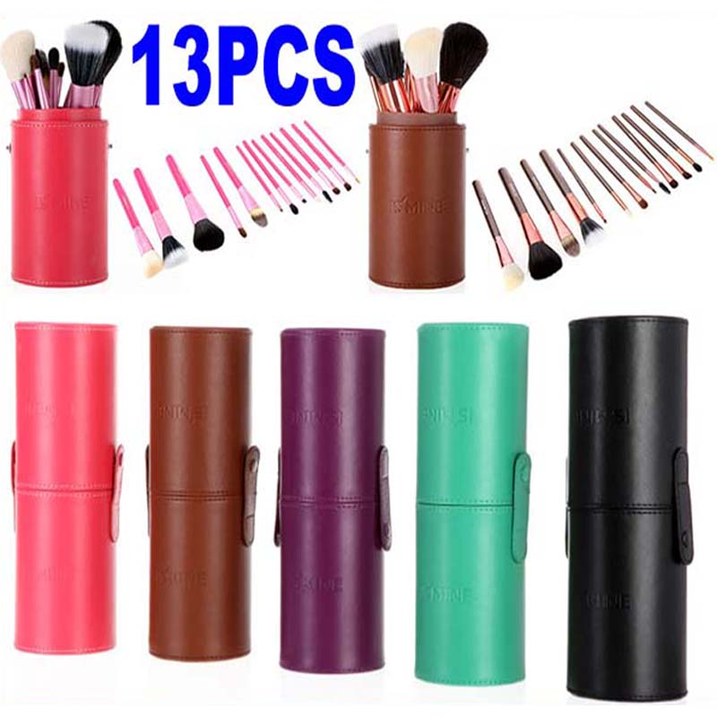 New Pro 13 Pcs Makeup Brushes in Round Pink 13 pcs Make Up Brush Set Cosmetic Brushes Kit High Quality Leather Case 4 Colors high quality 7 makeup brush set kit in sleek berry red leather bag make up portable brushes free shipping