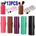 New Pro 13 Pcs Pincéis de Maquiagem em Rosa Rodada 13 pcs Fazer Up Brush Set Cosmetic Brushes Kit Estojo De Couro de Alta Qualidade 4 Cores