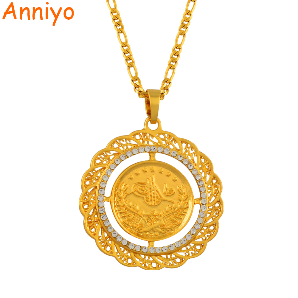 Anniyo 4.8cm Turks Pendant Necklace Arab Coin for Women Gold Color Turkey Coins Jewelry Wholesale #009212 anniyo wholesale coin bracelet for women arab chain middle eastern gift gold color coins jewelry middle eastern wedding 048006