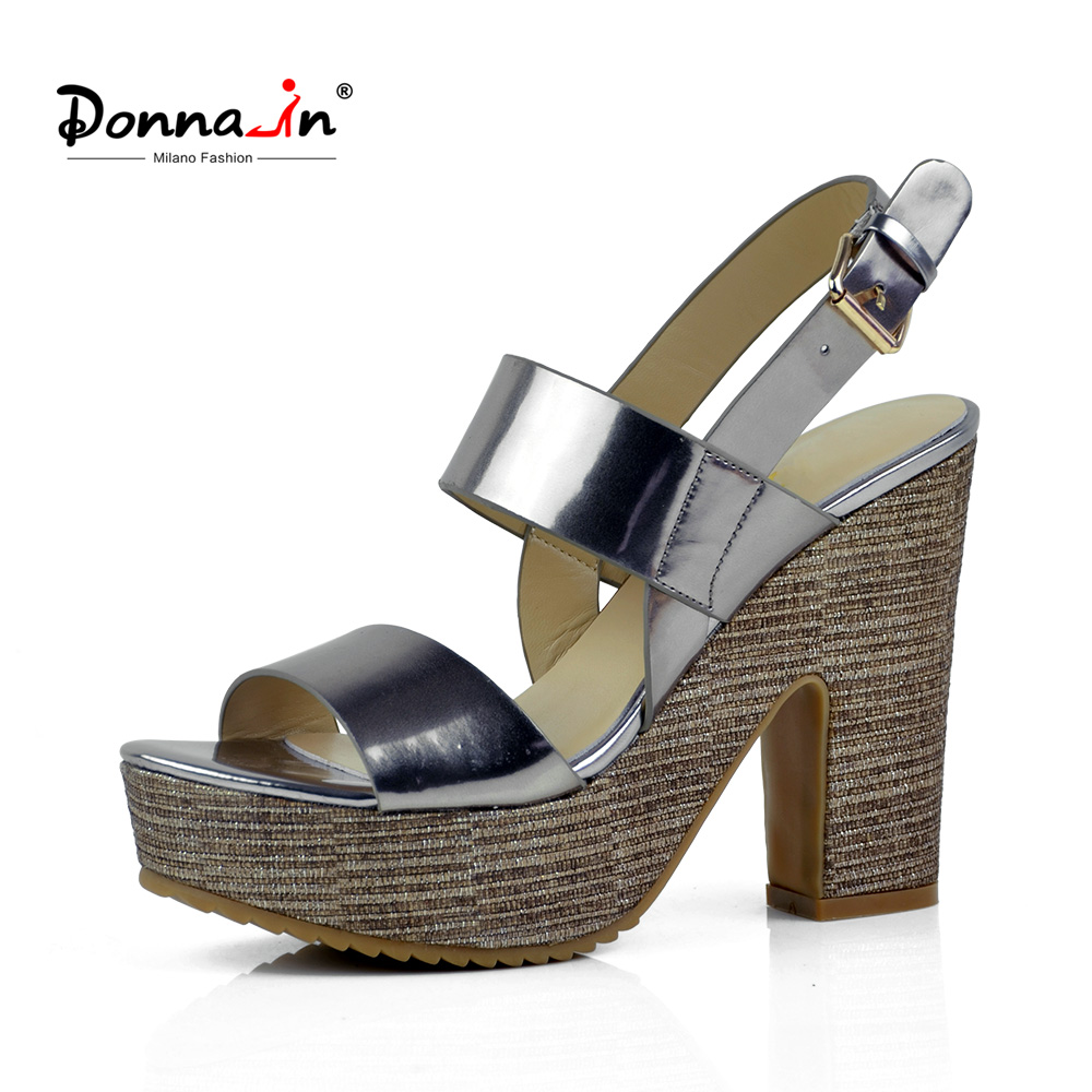 Donna-in 2018 Women Genuine Leather Sandals Platform Thick High Heels Shoes Open Toe Comfortable Sandals for Ladies donna in 2018 women genuine leather slipper platform high heels sandals ladies shoes thick heel casual slippers fashion styles