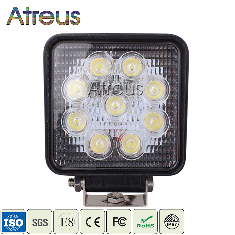 Atreus 4Inch 27W Square Car LED Work Light 12V Spot DRL Lamp For 4x4 Offroad ATV Truck Tractor 4WD Fog Lights car accessories 1pcs 120w 12 12v 24v led light bar spot flood combo beam led work light offroad led driving lamp for suv atv utv wagon 4wd 4x4