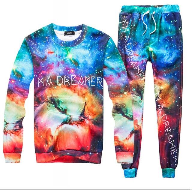 Harajuku style graphic galaxy space printed 3D sweatsuit fashion tracksuit Men/Women casual pants +hoodies 2 pcs plus size S-XXL