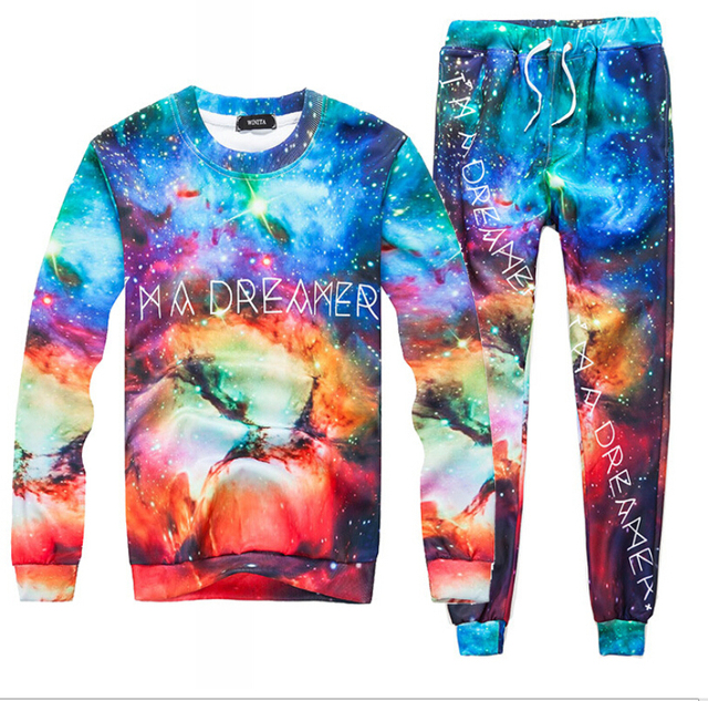 Unisex Sweats-Suit with 3D Harajuku Style Graphic Galaxy Space Print