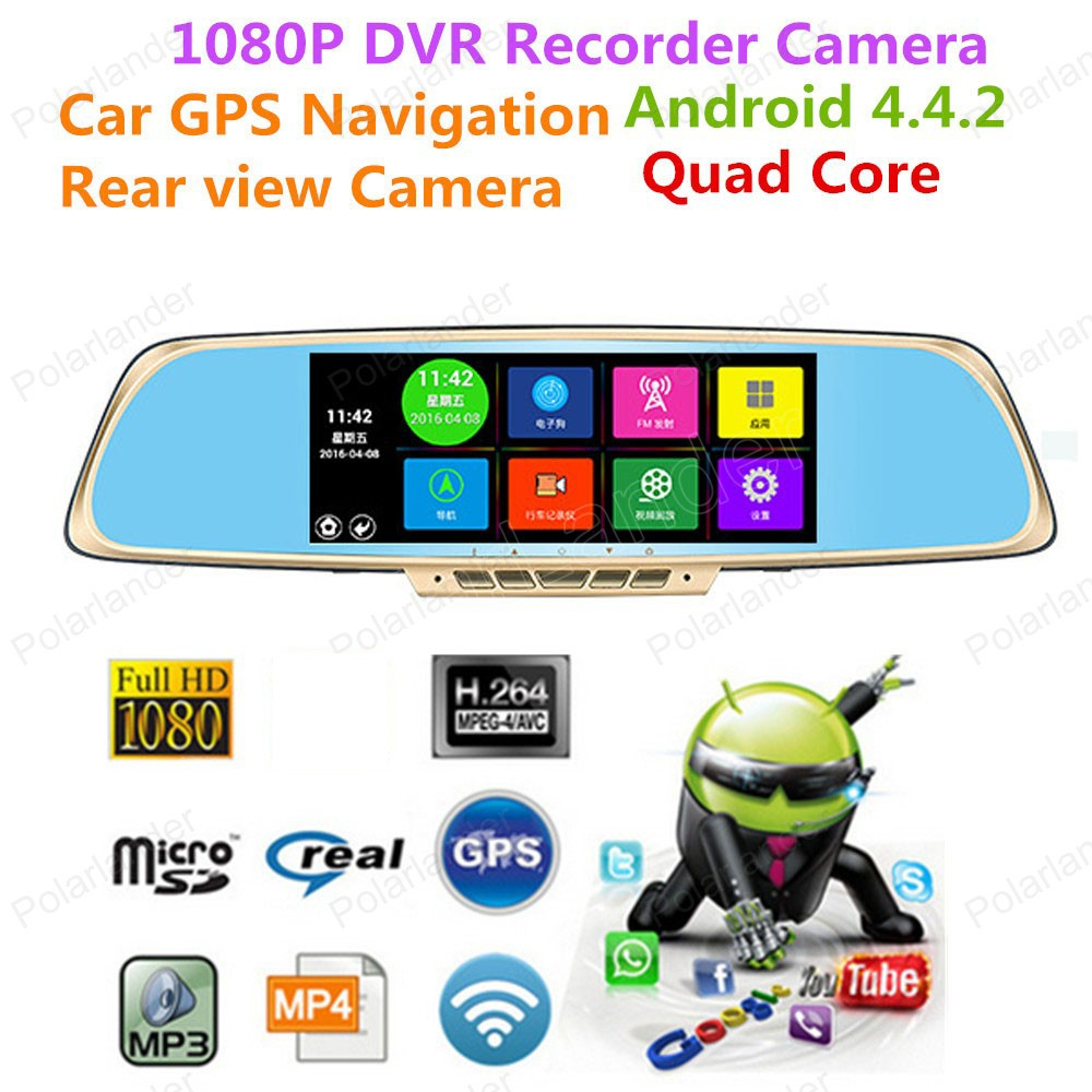 New 7 inch IPS Car Rearview Mirror DVR Android 4.4 Car Camera Parking FHD 1080P Dual Camera Video Recorder GPS Dash Cam