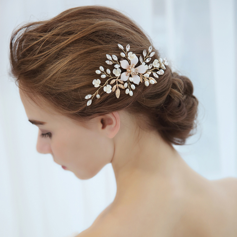 SLBRIDAL Handmade Rhinestones Crystal Pearls Flower Wedding Hair Comb Clip Barrettes Women Jewelry Gift Bridal Hair Accessories in Hair Jewelry from Jewelry Accessories